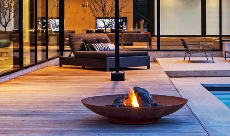Feuerschale Terrasse Grill Gartengestaltung
