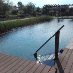 Schwimmteich mit Holztreppe