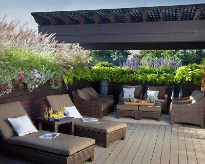 Dachterrasse Pergola Sichtschutz Pflanzen