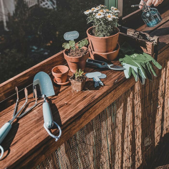 balkongarten gartenwerkzeug